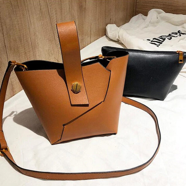 Vintage Women Tote Bag Removable Strap Solid Color