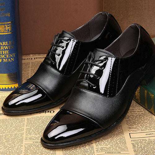 Fashion Splicing Men Oxford Shoes Patent Leather Soft Wedding Party