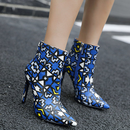 Trendy Women Printed Bootie Pointed Toe Thin High Heel