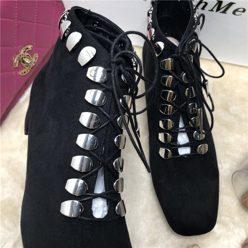 Trendy Women Bootie Lace-up Square Toe Low Heel