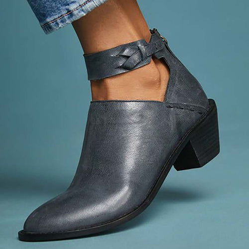 Retro Women Leather Bootie Pointed Toe Keyhole Low Heel