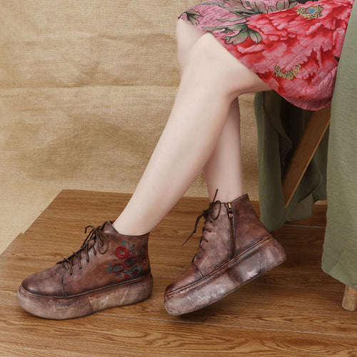 Retro Women Bootie Embroidery Flower Lace-Up Thick Sole