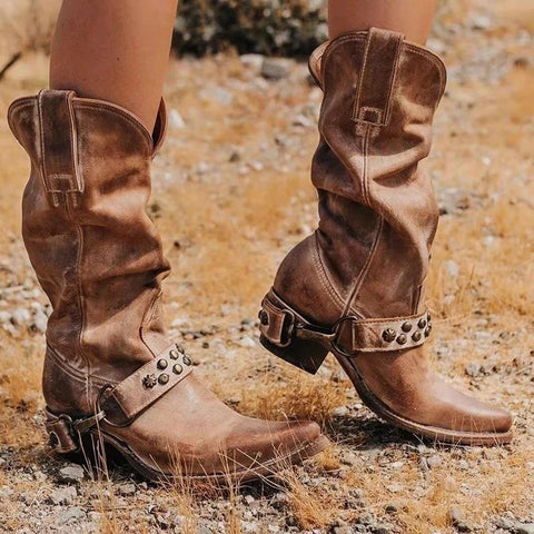 Women Knee High Rivets Gladiator Vintage Boots