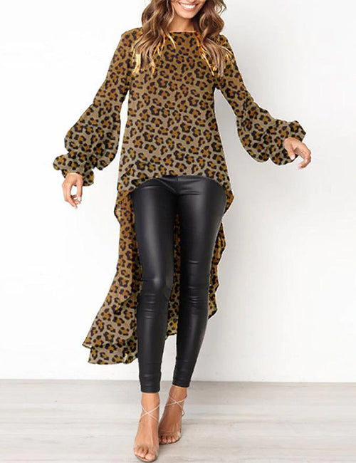Women Tops O Neck Long Sleeve Leopard Printed Asymmetric Loose