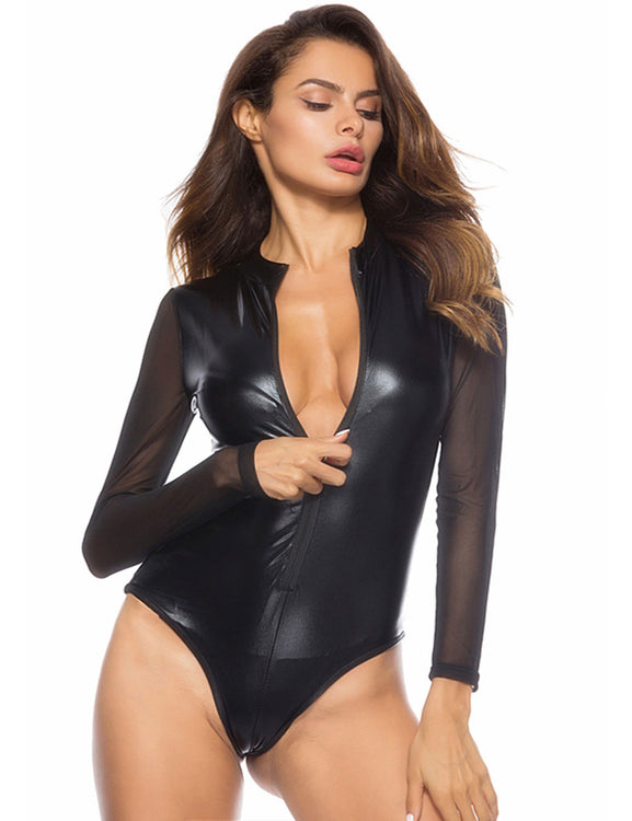 Mesh Patchwork Big Leather Lingerie High Neck