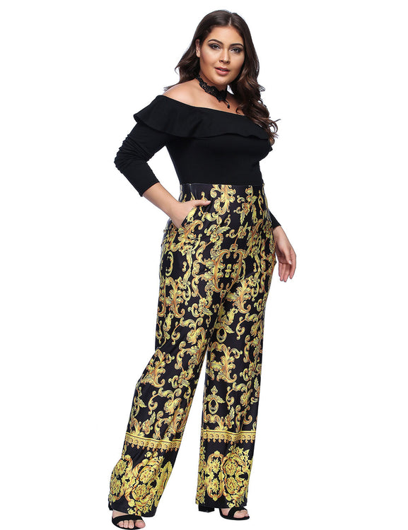 ab02b969ccac Off Shoulder Ruffle Long Sleeves Jumpsuit Baroque Fashion