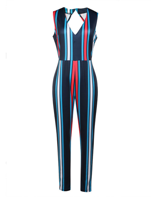 Plunging Neck Striped Jumpsuit Backless