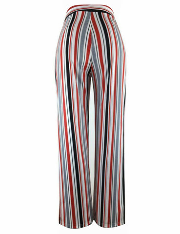 Striped Palazzo Pants Full Length