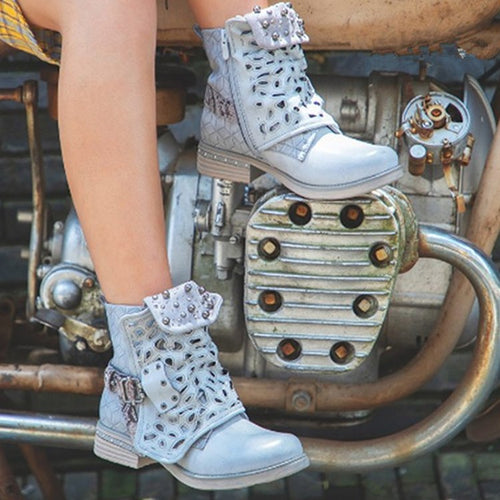 Zipper Rivet Buckle Lace-up Ankle Boots