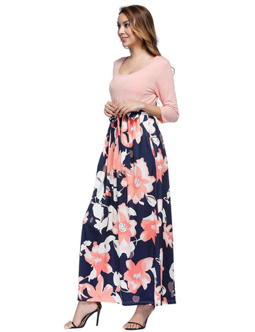 Flower Printed 3/4 Sleeved Maxi Dresses Patchwork