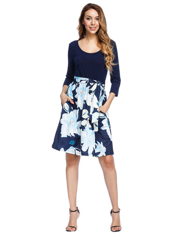 3/4 Sleeve Belt Midi Flower Dress