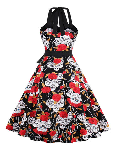 Halloween Vintage Big Rose Skull Dresses