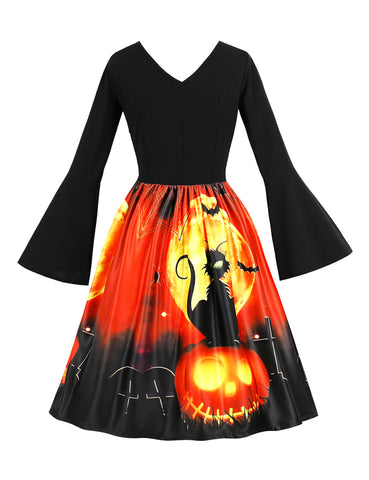 Queen Size Halloween Flare Dresses V Neck