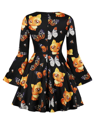 Halloween Bell Sleeve Big Printed Dress