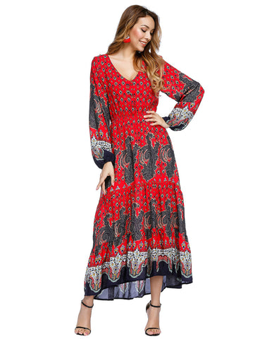 Pleated Print Maxi Dresses Lantern Sleeves