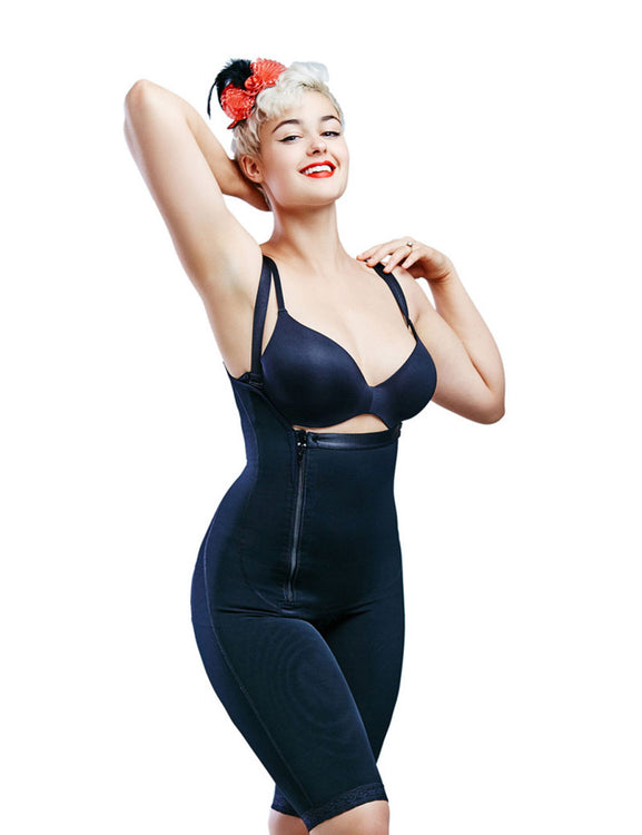 Thigh Length Plus Size Shapewear Bodysuit Zipper