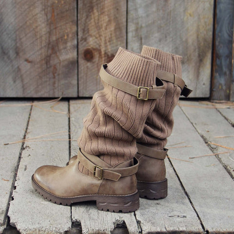 Vintage PU Paneled Adjustable Buckle Sweater Boots