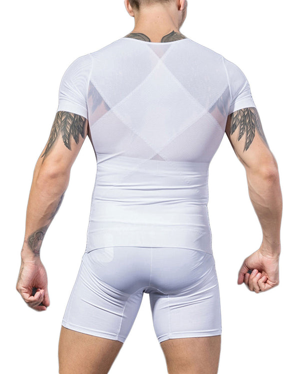 Abdominal Control Male Splicing Shapewear Short Sleeves Undergarment