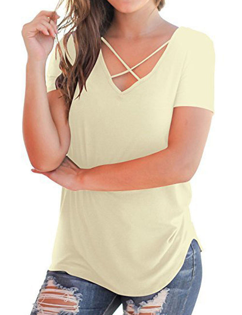 Absorbing Criss-Cross Straps Blouses Curve Trim For Women