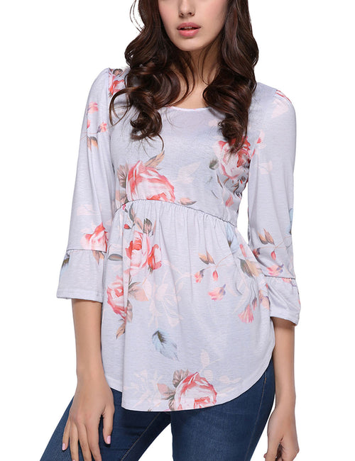 Adorable Flower Ruffled Trim Blouse Simplicity