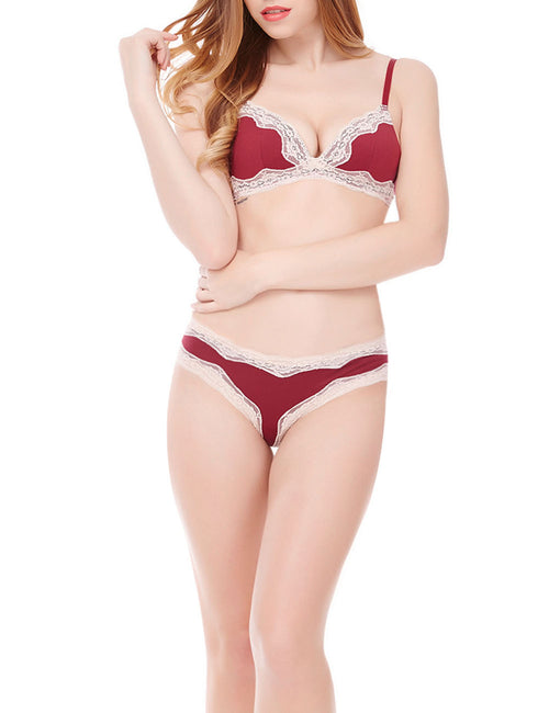 Adorable Lace Bra With Panty Set Back Hooks Fashion Online For Lady