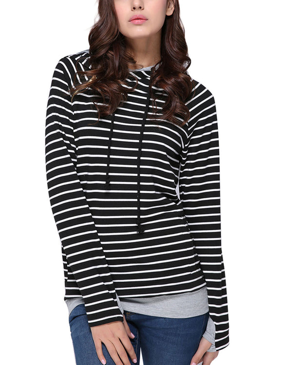 Adorable Oblique Zipper Striped Hoodies Casual Women