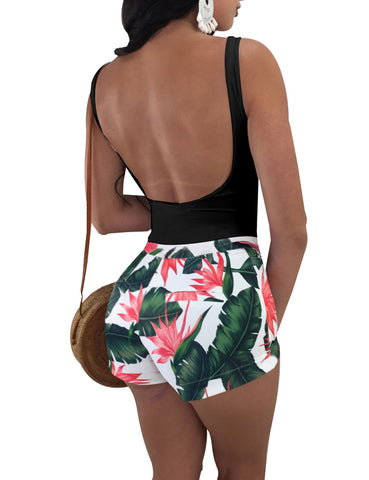 Alluring Floral Print Tight Romper Plunge Back Regular Fit