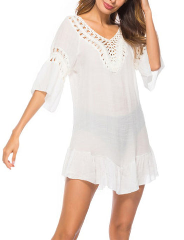 Beach Party Hollow Out Bikini Blouses 3/4 Sleeves Women