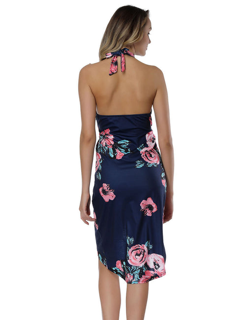 Alluring Open Back Halter Flower Mini Dresses All-Match Style