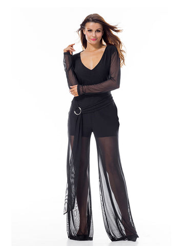 Appealing Long Sleeves Mesh Jumpsuit Open Back At Best Price