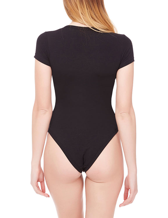 Appropriate V Neck Short Sleeve Sheer Bodysuit Nice Quality