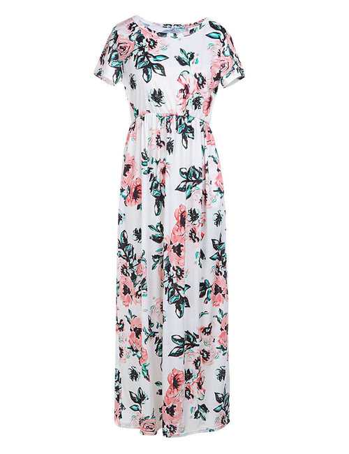 Attractive Floral Maxi Dress Short Sleeve Round Neck Simplicity