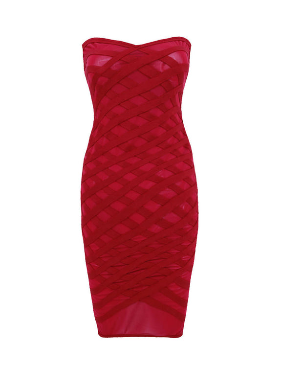 Attractive Mesh Cross Patchwork Bodycon Dress Zipper Back Fashion Online