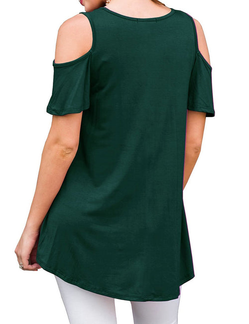 Attractive Short-Sleeved Shirt Cold Shoulder Quick Drying