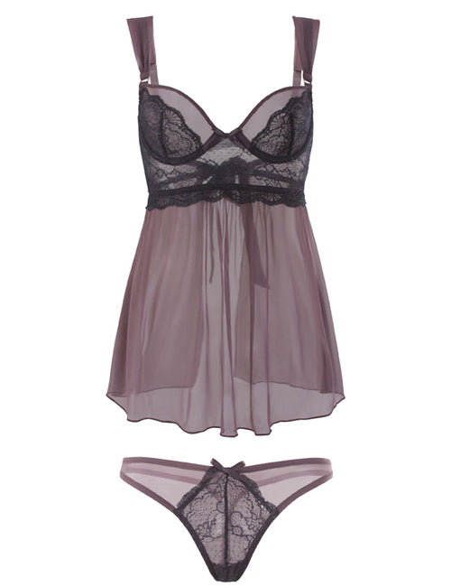 Purple Lace Short Mini See Though Soft Babydoll