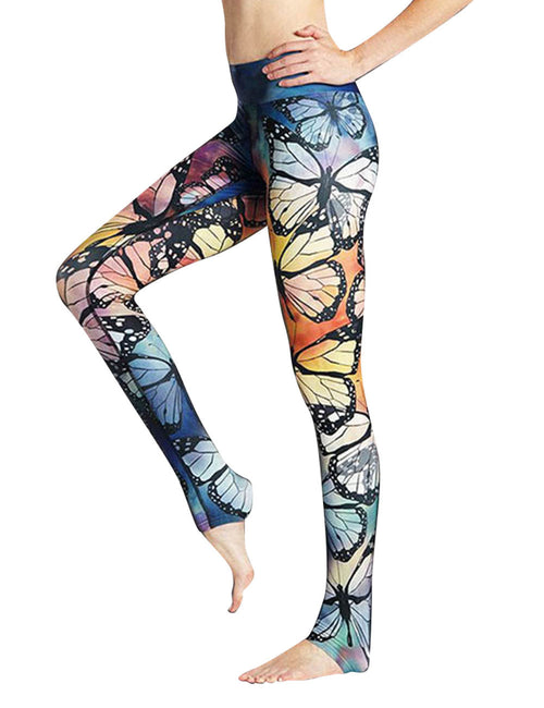 Beautifully Designed Butterfly Print Exercise Pants Outfit Workout Activewear