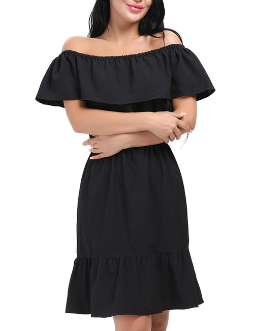 Beautifully Designed Graceful Ruffle Off Shoulder Mini Dress Female Grace
