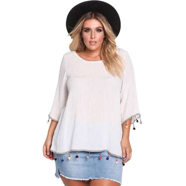 Blouse - Casual Loose Round Neck Flare Sleeve Mid-Length Plus Size Blouse