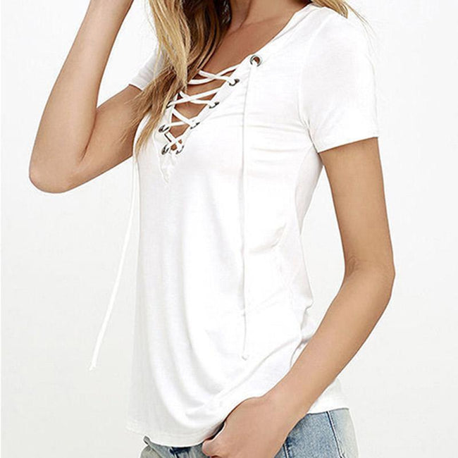 Blouse - Fashion V-Neck Hollow Out Casual Basic T-Shirt