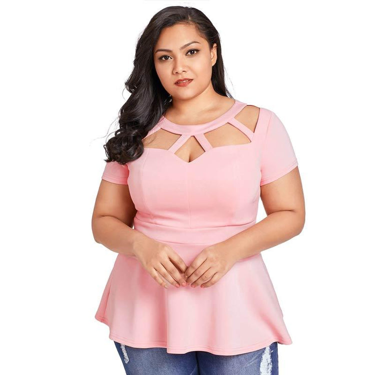 Blouse - Plus Size Short Sleeve Sexy O-Neck Tops