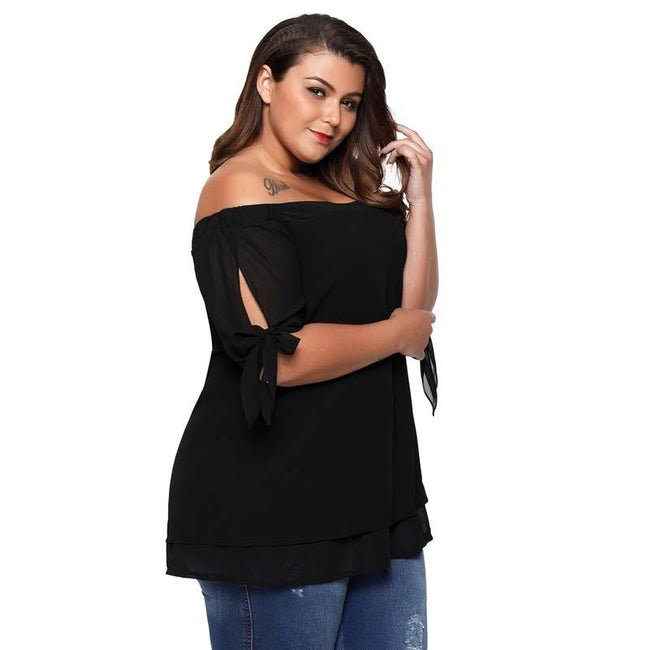 Blouse - Sexy Open Tie Split Short Sleeve Women T-Shirts