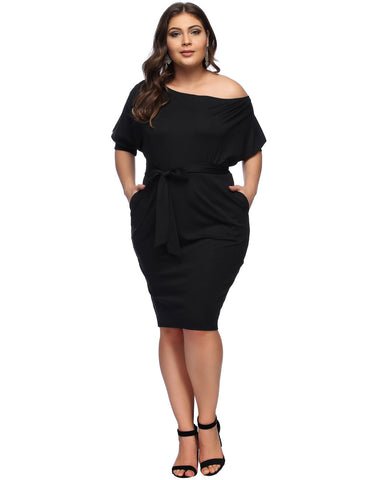 Bodycon Fit Large Dress Bat Sleeve Slope Shoulder Latest Trends