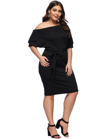 Loose Plus Size V Neck Three Quarter Casual Side Split Irregular Black Mini Dress