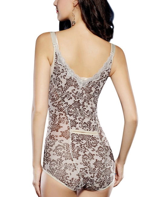 Bodycon Floral Lace Body Briefer Adjustable Straps Hooks Crotch Shaper
