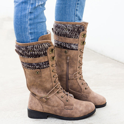 Mid-calf Chunky Low Heels Gladiator Lace Up Cross-tied Boots