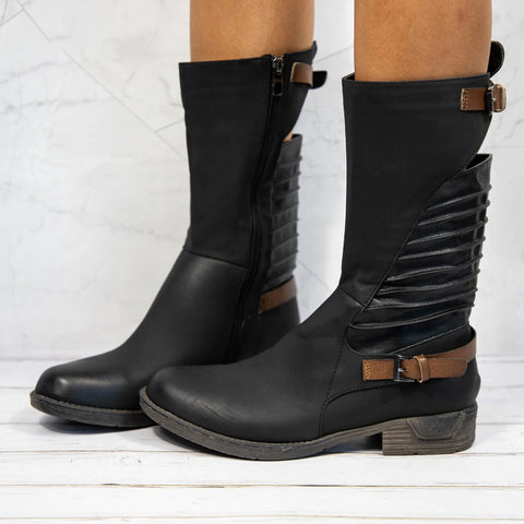 Black Zipper Buckle Mid Heel Round Toe Boots