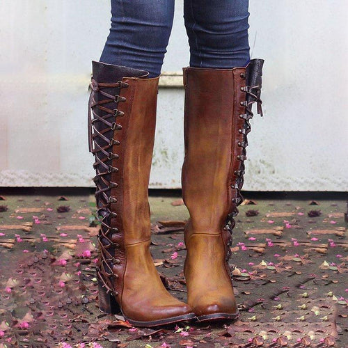 Zipper And Lace Above Knee Lace Up Boots