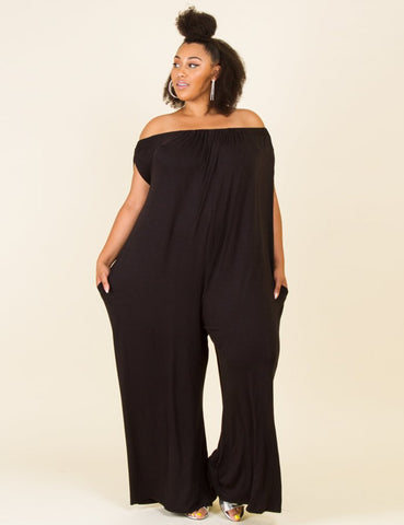 Plus Size Pocket Button Design Denim Jumpsuit