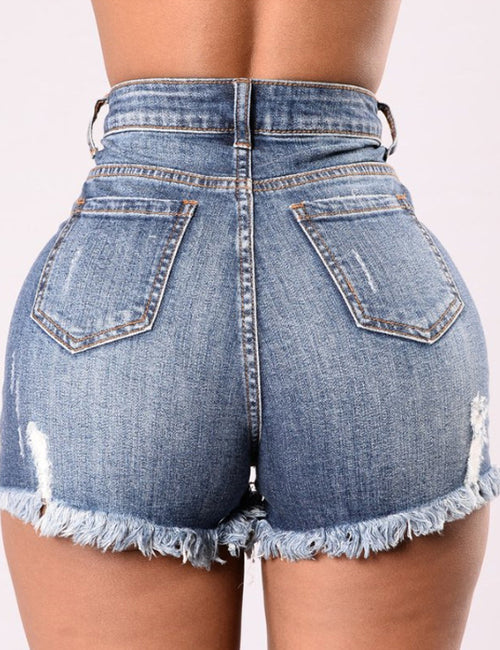 Lady Fashion High Waist Denim Beggar Hole Jeans