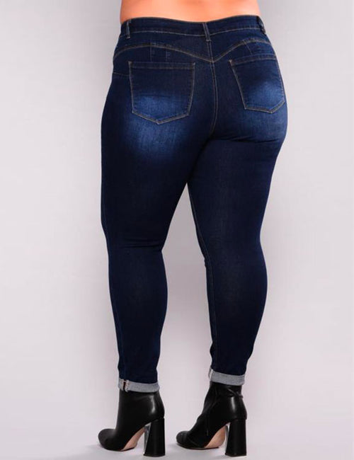 PLUS SIZE High Waist Pencil Blue Denim Pants Ripped Hole Washed Jeans